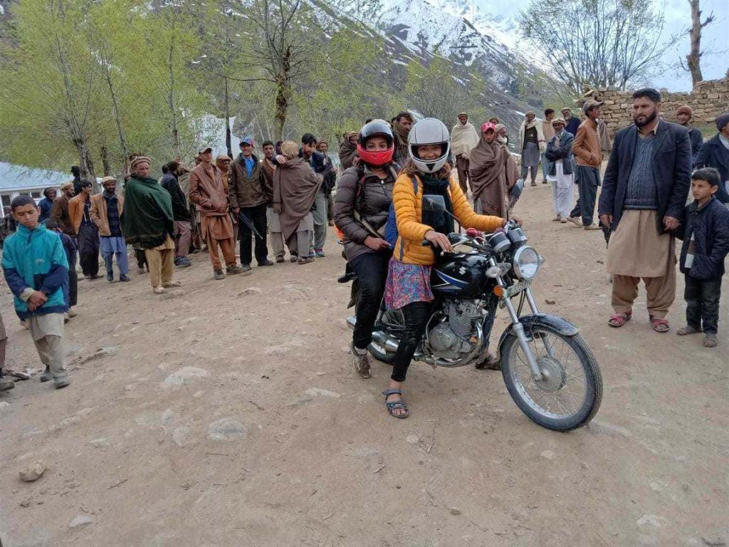 Aneeqa and Alex on motorbike in Astore - Gilgit Baltistan