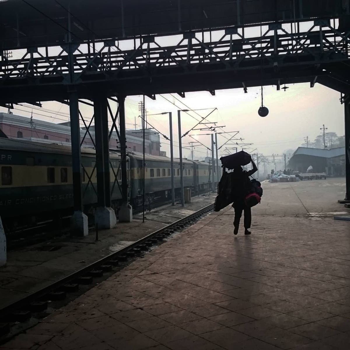 Coolie on Lahore railway station train platform