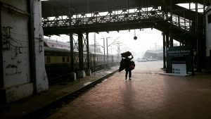 Coolie on Lahore railway station train platform1