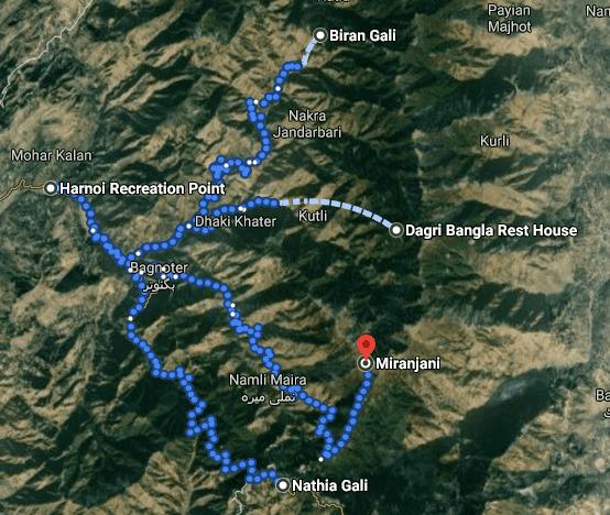 Dagri Forest trekking trip map