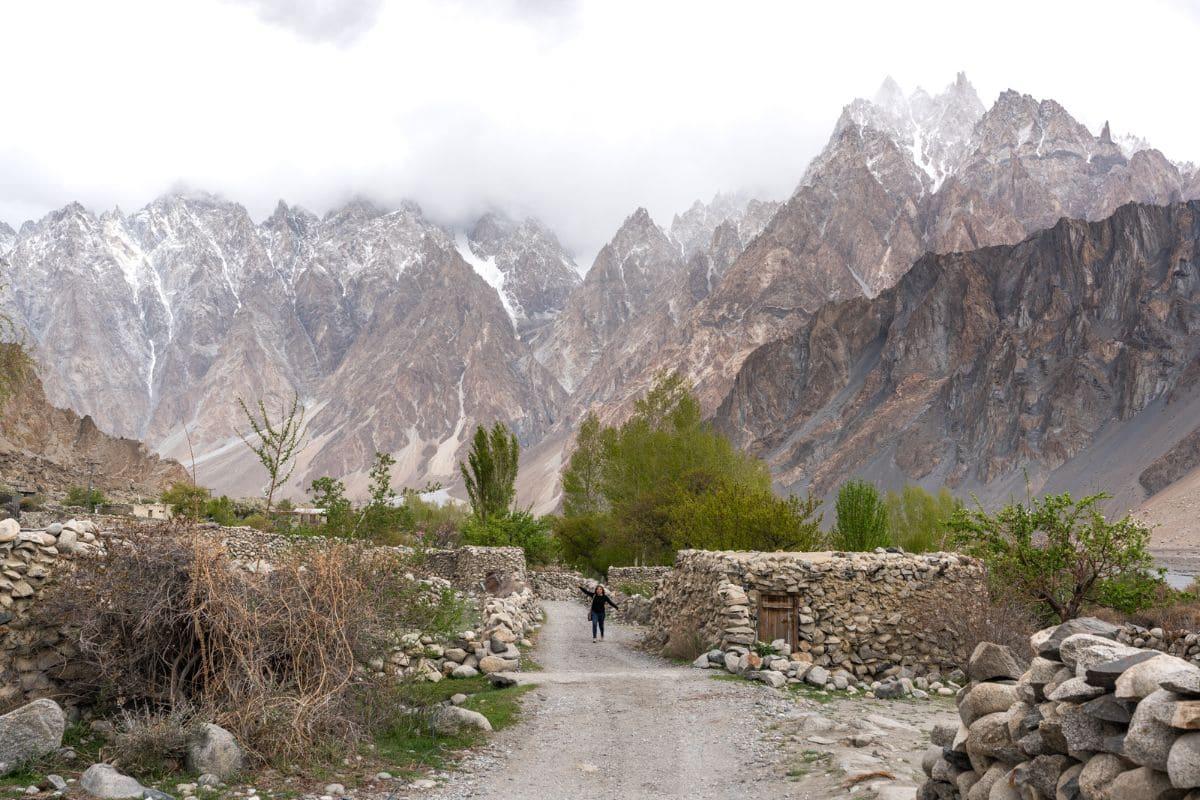 Female tourist in Passu Hunza Gilgit Baltistan