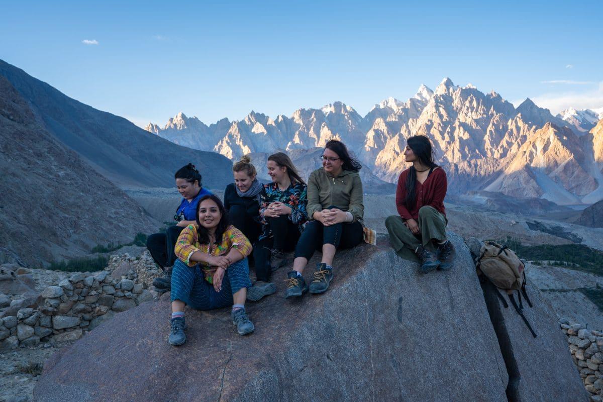 Female tourists at Ondra fort in Gulmit Hunza Gilgit Baltistan