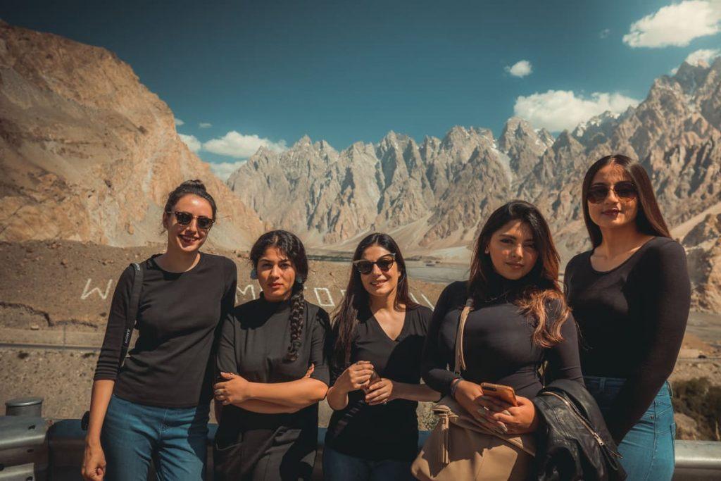 Female tourists at Passu in Hunza - Gilgit Baltistan
