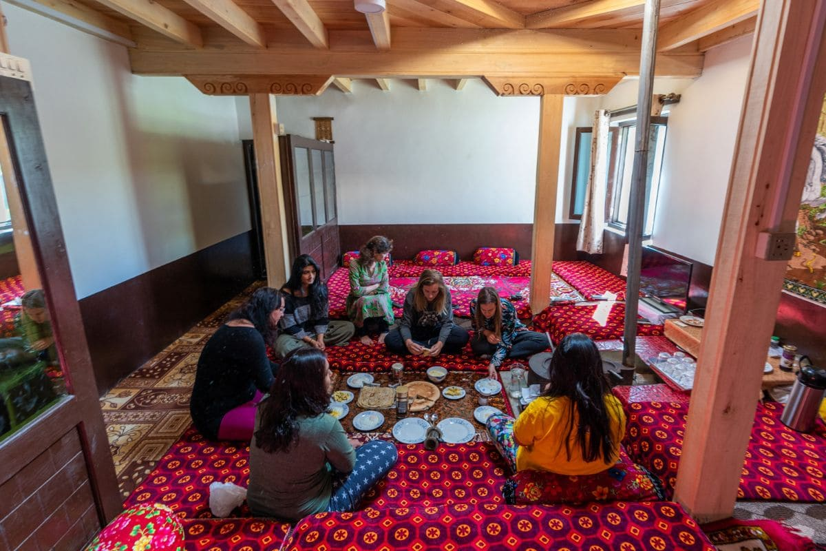 Female tourists at a traditional guest house in Gilgit Baltistan
