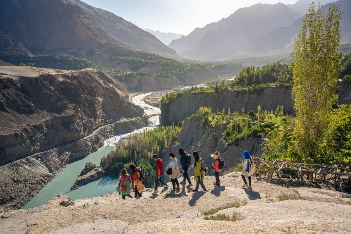 Female tourists in Gilgit Baltistan