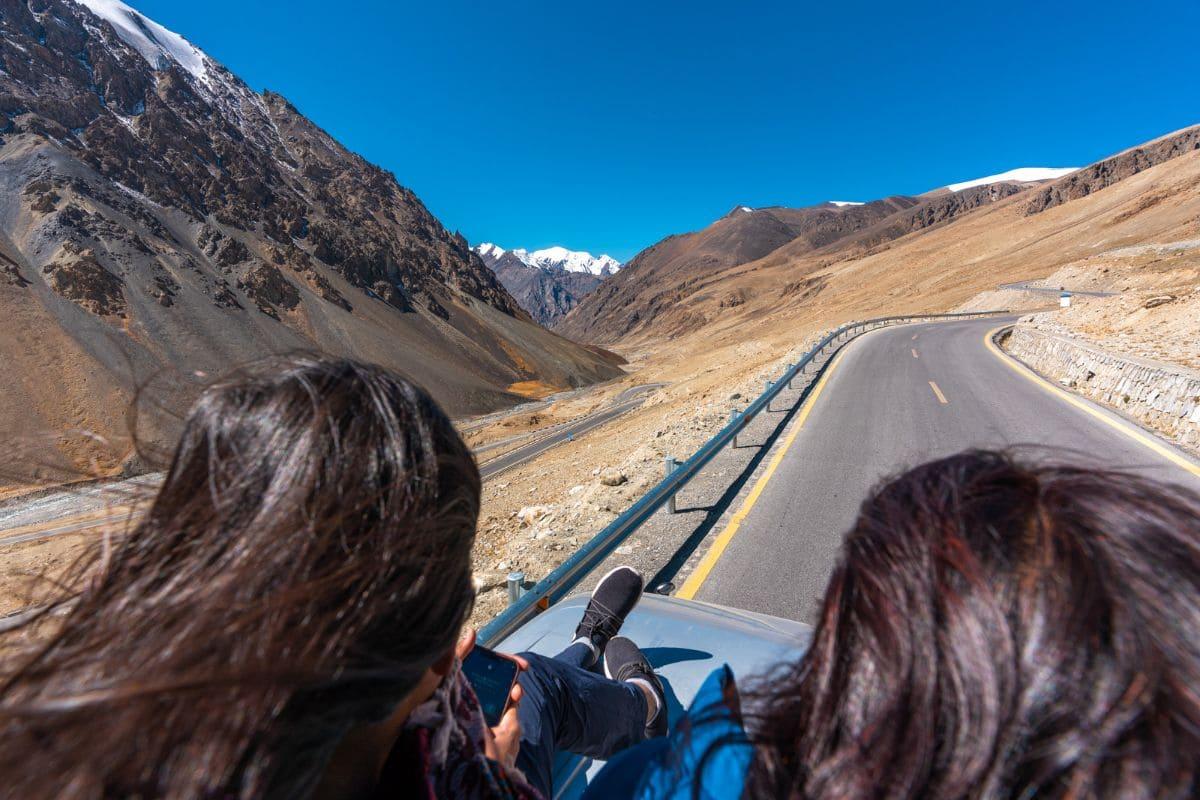 Female tourists on a bus on Karakoram highway