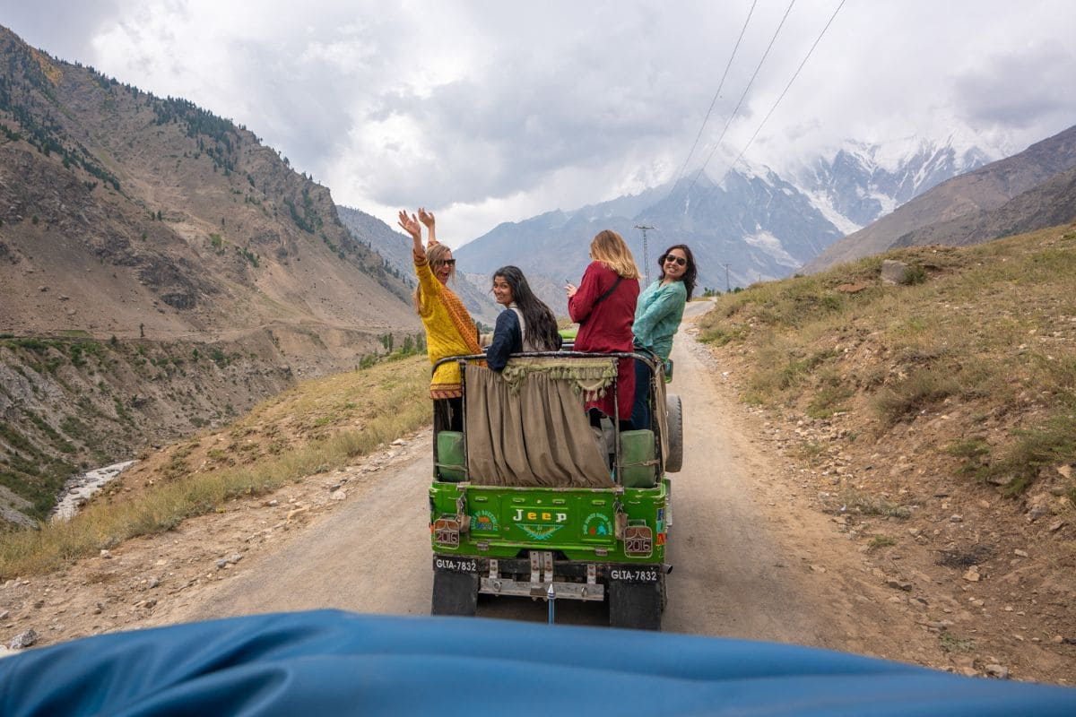 Female tourists on jeep in Astore Gilgit Baltistan