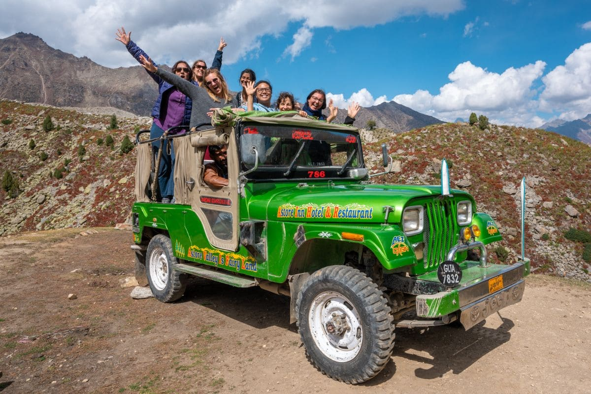 Foreign female tourists on jeep in Astore Gilgit Baltistan 1