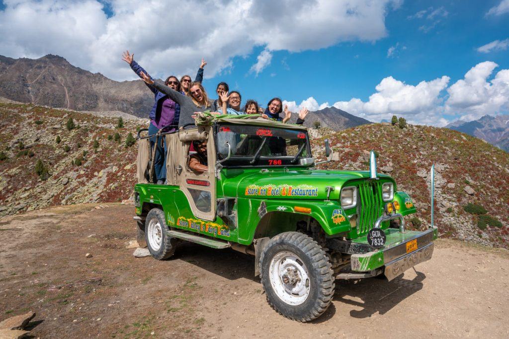Foreign female tourists on jeep in Astore - Gilgit Baltistan